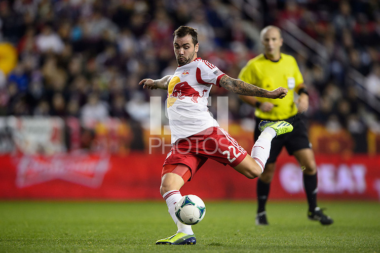 Jonny Steele (22) of the New York Red Bulls. The Houston Dynamo defeated the New York Red Bulls 2-1 (4-3 on aggregate) in overtime of the second leg of the Major League Soccer (MLS) Eastern Conference Semifinals at Red Bull Arena in Harrison, NJ, on November 6, 2013.