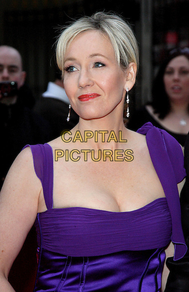 JK ROWLING .Attending the Galaxy British Book Awards held at the Grosvenor Hotel, Park Lane, London, England, .April 9th 2008.portrait headshot J.K. Joanne purple red lipstick earrings .CAP/ROS.©Steve Ross/Capital Pictures