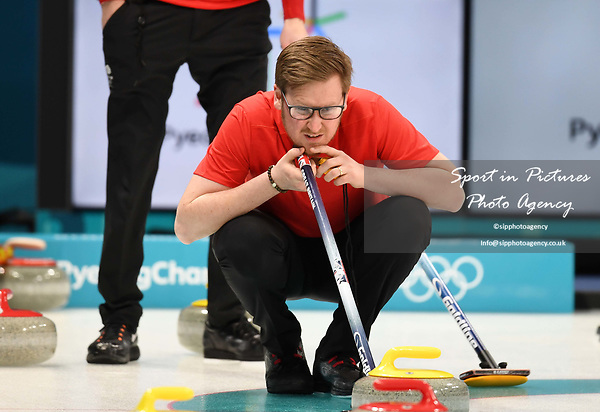 Viktor Kjell (GBR coach). Mens Curling training. Pyeongchang2018 winter Olympics Gangneung curling centre. Gangneung. Republic of Korea. 12/02/2018. ~ MANDATORY CREDIT Garry Bowden/SIPPA - NO UNAUTHORISED USE - +44 7837 394578