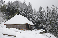 The thatched roof of the isolated cottage and the surrounding woodland are blanketed in snow