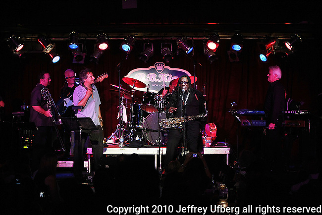 "August 4, 2010 New York: Singer / Musician Steve Smith & The Nakeds featuring Clarence Clemons perform ""BB King's Blues Club"" on August 4, 2010 in New York City."