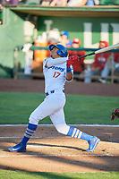 Romer Cuadrado (17) of the Ogden Raptors bats against the Orem Owlz in Pioneer League action at Lindquist Field on June 27, 2017 in Ogden, Utah. Ogden defeated Orem 14-5. (Stephen Smith/Four Seam Images)