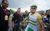 Simon Gerrans (AUS/Orica-GreenEDGE) finishes on the podium once again (3rd), apparently it cost him some blood to get there too... (not from a crash though, but from a simple burst dry lip)<br />