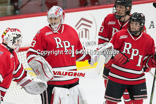 Cam Hackett (RPI - 1), Jason Kasdorf (RPI - 33), Jared Wilson (RPI - 13), Jesper Öhrvall (RPI - 28) - The Harvard University Crimson defeated the visiting Rensselaer Polytechnic Institute Engineers 5-2 in game 1 of their ECAC quarterfinal series on Friday, March 11, 2016, at Bright-Landry Hockey Center in Boston, Massachusetts.