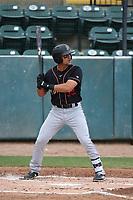 Jake Scheiner (32) of the Modesto Nuts bats against the Visalia Rawhide at Recreation Ballpark on June 10, 2019 in Visalia, California. (Larry Goren/Four Seam Images)