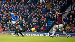 01.12.2019 Rangers v Hearts: Alfredo Morelos beats keeper Joel Pereira but Craig Halkett clears off the line