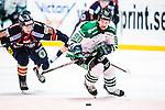 Stockholm 2014-03-27 Ishockey Kvalserien Djurg&aring;rdens IF - R&ouml;gle BK :  <br /> R&ouml;gles Kelsey Tessier i kamp om pucken med Djurg&aring;rdens Henrik Nyberg <br /> (Foto: Kenta J&ouml;nsson) Nyckelord:  DIF Djurg&aring;rden R&ouml;gle RBK Hovet