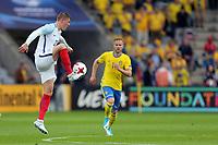Alfie Mawson of England and Gustav Engvall of Sweden during Sweden Under-21 vs England Under-21, UEFA European Under-21 Championship Football at The Kolporter Arena on 16th June 2017