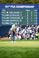 Matt Fitzpatrick (ENG) sinks his putt on 11 during round 4 of the 2019 PGA Championship, Bethpage Black Golf Course, New York, New York,  USA. 5/19/2019.<br /> Picture: Golffile | Ken Murray<br /> <br /> <br /> All photo usage must carry mandatory copyright credit (© Golffile | Ken Murray)