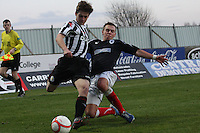 Lewis McLear is tackled by Kyle Turnbull at the Falkirk v St Mirren  Scottish Football Association Youth Cup 4th Round match played at the Falkirk Stadium, Falkirk on 16.12.12.