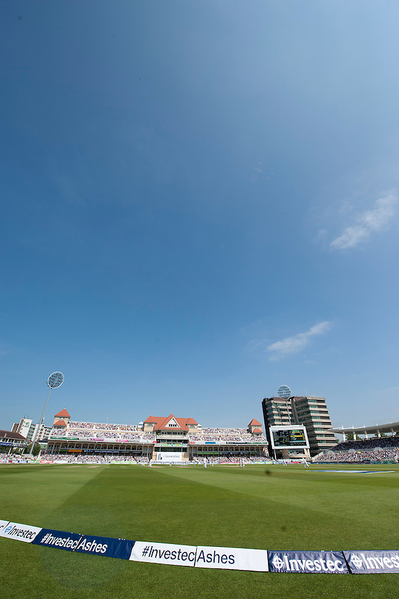 Blue skies above Trent Bridge for the second day of the First Ashes test<br /> <br />  (Photo by Stephen White/CameraSport) <br /> <br /> International Cricket - First Investec Ashes Test Match - England v Australia - Day 2 - Thursday 11th July 2013 - Trent Bridge - Nottingham<br /> <br /> &copy; CameraSport - 43 Linden Ave. Countesthorpe. Leicester. England. LE8 5PG - Tel: +44 (0) 116 277 4147 - admin@camerasport.com - www.camerasport.com