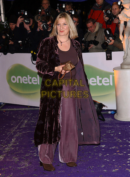 VICTORIA WOOD.British Comedy Awards 2005 at the London Television Studios, London, SE1, UK..December 14th, 2005.Ref: FIN.full length purple velvet long jacket wide leg trousers bronze clutch bag.www.capitalpictures.com.sales@capitalpictures.com.© Capital Pictures.