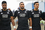 Akira Ioane, Joe Edwards, Sean Wainui. Maori All Blacks vs. Fiji. Suva. MAB's won 27-26. July 11, 2015. Photo: Marc Weakley