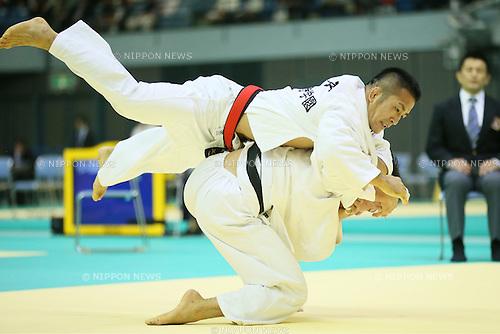 (U to D) <br /> Hiroyuki Akimoto, <br /> Keiichi Ota, <br /> NOVEMBER 9, 2013 - Judo : <br /> Kodokan Cup 2013 <br /> Men's -73kg <br /> at Chiba Port Arena, Chiba, Japan. <br /> (Photo by YUTAKA/AFLO SPORT)