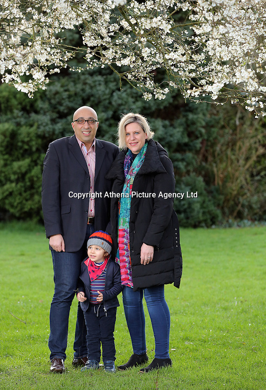 Pictured: Bruno Pollet originally from France with wife Emma, originally from Edinburgh and two and a half year old son Hugo at Ammanford Park in Carmarthenshire, Wales, UK. Monday 27 February 2017<br />Re: The Pollet family will be leaving the UK to go and live in Scandinavia.