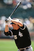 OAKLAND, CA - August 16:  Jim Thome of the Chicago White Sox bats during the game against the Oakland Athletics at the McAfee Coliseum in Oakland, California on August 16, 2007.  The Athletics defeated the White Sox 8-5.  Photo by Brad Mangin