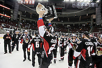Binghamton Senators players celebrate after game six of the AHL Calder Cup Finals, Tuesday, June 7, 2011, in Houston. Binghamton won 3-2 to win the championship. (Darren Abate/pressphotointl.com/AHL)