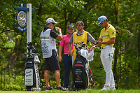 Tyrell Hatton (ENG) and Rafael Cabrera Bello (ESP) wait to tee off on 11 during 4th round of the 100th PGA Championship at Bellerive Country Club, St. Louis, Missouri. 8/12/2018.<br /> Picture: Golffile   Ken Murray<br /> <br /> All photo usage must carry mandatory copyright credit (© Golffile   Ken Murray)