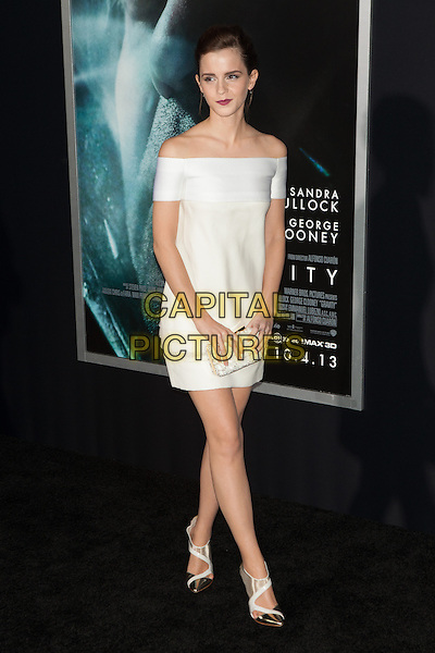 Emma Watson<br /> The 'Gravity' premiere at AMC Lincoln Square Theater, New York City, NY., USA.<br /> October 1st, 2013<br /> full length white dress yellow off the shoulder clutch bag<br /> CAP/MPI/COR<br /> &copy;Corredor99/ MediaPunch/Capital Pictures
