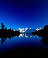 Austria, Styria, Reiteralm Panorama Trail: Middle Gassel Lake, also called Mirror Lake, Dachstein mountains