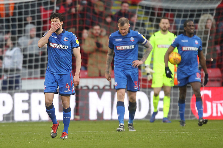 Bolton Wanderers players look dejected<br /> <br /> Photographer Mick Walker/CameraSport<br /> <br /> The EFL Sky Bet Championship - Sheffield United v Bolton Wanderers - Saturday 2nd February 2019 - Bramall Lane - Sheffield<br /> <br /> World Copyright © 2019 CameraSport. All rights reserved. 43 Linden Ave. Countesthorpe. Leicester. England. LE8 5PG - Tel: +44 (0) 116 277 4147 - admin@camerasport.com - www.camerasport.com