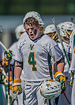 18 April 2015:  University of Vermont Catamount Face Off Specialist Luc LeBlanc, a Sophomore from Essex, VT, expresses victory after a game against the visiting University of Hartford Hawks at Virtue Field in Burlington, Vermont. The Cats defeated the Hawks 14-11 in the final home game of the 2015 season. Mandatory Credit: Ed Wolfstein Photo *** RAW (NEF) Image File Available ***