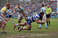 Kane Palma-Newport of Bath Rugby looks to cross the try-line but the score is ruled out because of a forward pass. LV= Cup match, between Bath Rugby and the Ospreys on February 7, 2015 at the Recreation Ground in Bath, England. Photo by: Patrick Khachfe / Onside Images