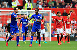 Demarai Gray of Leicester City celebrates after scoring his sides first goal during the Premier League match at Old Trafford Stadium, Manchester. Picture date: September 24th, 2016. Pic Sportimage