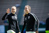Seattle, WA - Sunday, May 22, 2016: Seattle Reign FC defender Lauren Barnes (3) waves at fans prior to a regular season National Women's Soccer League (NWSL) match at Memorial Stadium. Chicago Red Stars won 2-1.