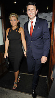 Billie Faiers & boyfriend Greg ?.attended the Kensington Club new boutique nightclub launch party, The Kensington Club, High Street Kensington, London, England,.20th July 2012..full length black dress straps blue navy suit red tie towie .CAP/CAN.©Can Nguyen/Capital Pictures.
