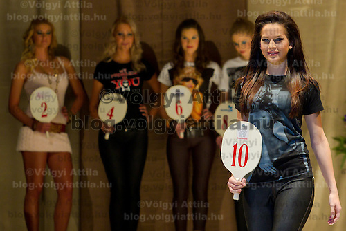 Klaudia Bernath attends the Miss Hungary 2010 beauty contest held in Budapest, Hungary on November 29, 2010. ATTILA VOLGYI