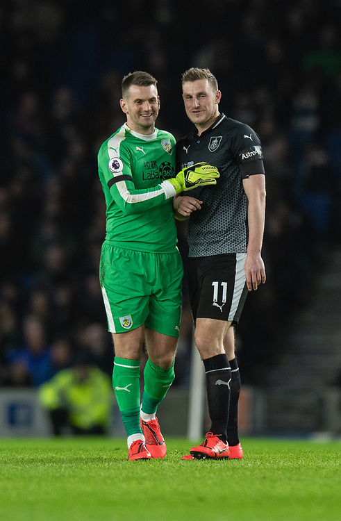 Burnley's Thomas Heaton (left) & Burnley's Chris Wood (right) <br /> <br /> Photographer David Horton/CameraSport<br /> <br /> The Premier League - Brighton and Hove Albion v Burnley - Saturday 9th February 2019 - The Amex Stadium - Brighton<br /> <br /> World Copyright © 2019 CameraSport. All rights reserved. 43 Linden Ave. Countesthorpe. Leicester. England. LE8 5PG - Tel: +44 (0) 116 277 4147 - admin@camerasport.com - www.camerasport.com