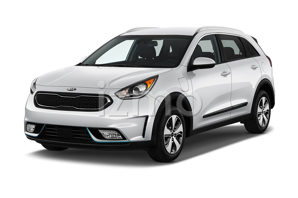 2018 KIA Niro LX PHEV 5 Door Hatchback angular front stock photos of front three quarter view