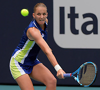 MIAMI GARDENS, FLORIDA - MARCH 30: Ashleigh Barty of Australia defeats Karolina Pliskova of the Czech Republic on day thirteen in the women's finals at the Miami Open at the Hard Rock Stadium on March 30, 2019 in Miami Gardens, Florida.<br /> <br /> <br /> People: Karolina Pliskova