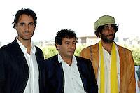 "RAOUL BOVA, MOHSEN MELLITI & GIOVANNI MARTORANA.Photcall for the film ""Io, l'altro"", Campidoglio, Rome, Italy..May 10th, 2007.half length yellow scarf green hat beard facial hair .CAP/CAV.©Luca Cavallari/Capital Pictures"