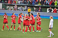 Portland, OR - Saturday, May 21, 2016: Portland Thorns FC players celebrate a goal. The Portland Thorns FC defeated the Washington Spirit 4-1 during a regular season National Women's Soccer League (NWSL) match at Providence Park.
