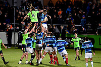 Florian Veraeghe of the French Barbarians takes lineout ball during the rugby match between the Highlanders and the French Barbarians at Rugby Park in Invercargill, New Zealand on Friday, 22 June 2018. Copyright Image: Joe Allison / lintottphoto.co.nz