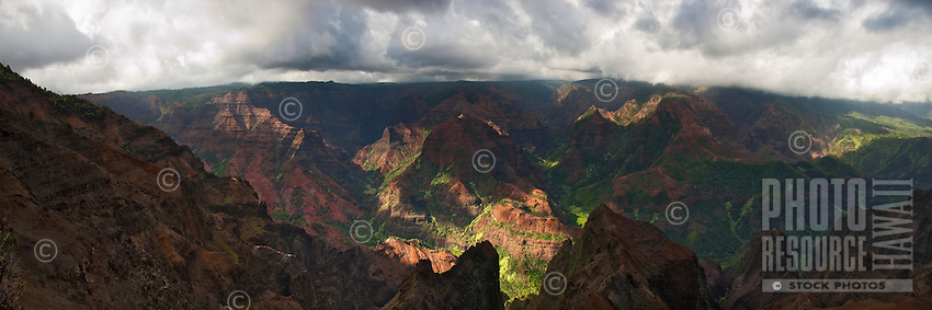 Waimea Canyon with dappled light on Kauai.
