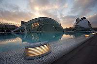 « The Eye of Wisdom », The Hemisphere, with The Palau de les Arts (The Arts Palace) in the distance, City of Arts and Sciences ; 1998, Santiago Calatrava, Valencia, Comunidad Valenciana, Spain Picture by Manuel Cohen
