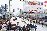 Saturday March 6 , 2010   Matt Hayashida leaves the start line on 4th avenue during the ceremonial start of the 2010 Iditarod in Anchorage , Alaska