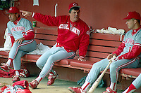 SAN FRANCISCO, CA - Manager Lou Piniella of the Cincinnati Reds sits in the dugout and talks to Chris Sabo before a game against the San Francisco Giants at Candlestick Park in San Francisco, California in 1990. Photo by Brad Mangin