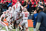 Wisconsin Badgers teammates celebrate offensive lineman Michael Deiter (63) rushing touchdown during an NCAA College Big Ten Conference football game against the Illinois Fighting Illini Saturday, October 28, 2017, in Champaign, Illinois. The Badgers won 24-10. (Photo by David Stluka)