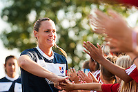 Sky Blue FC defender Christie Rampone (3) greets fans prior to playing the Washington Spirit. Sky Blue FC defeated the Washington Spirit 1-0 during a National Women's Soccer League (NWSL) match at Yurcak Field in Piscataway, NJ, on August 3, 2013.