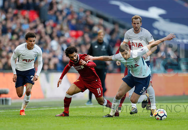 Tottenham's Dele Alli, Jan Vertoghen and Harry Kane tussle with Liverpool's Mohamed Salah during the premier league match at Wembley Stadium, London. Picture date 22nd October 2017. Picture credit should read: David Klein/Sportimage