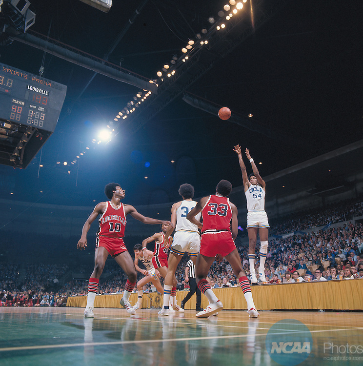 29 MAR 1975:  UCLA forward Marques Johnson (54) during the NCAA Men's National Basketball Final Four semifinal game against Louisville held in San Diego, CA, at the Sports Arena. UCLA defeated Louisville 75-74 in over time to meet Kentucky for the championship. Also pictured Louisville guard/forward Junior Bridgeman (10), forward Ike Whitfield (40), center William Bunton (33) and UCLA forward Dave Meyers (34), center forward Richard Washington (31). Photo by Rich Clarkson/NCAA PhotosSI CD 2017-41