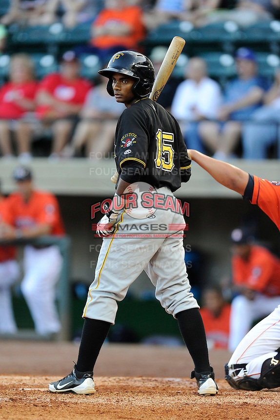 Second baseman Pablo Reyes (15) of the Bristol Pirates bats in a game against the Greeneville Astros on Friday, July 25, 2014, at Pioneer Park in Greeneville, Tennessee. Greeneville won, 9-4. (Tom Priddy/Four Seam Images)