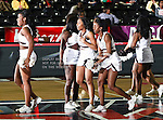 Alabama A&M Bulldogs cheerleaders in action during the SWAC Tournament game between the Mississippi Valley State Devilettes and the Alabama A&M Bulldogs at the Special Events Center in Garland, Texas. Mississippi Valley State defeats Alabama A & M 52 to 51