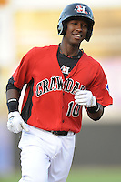Hickory Crawdads Jurickson Profar #10 rounds third after hitting a first inning homerun during a game vs. the Hickory Crawdads at L.P. Franz Stadium in Hickory,  North Carolina;  April 7, 2011.  Hickory defeated Asheville 4-2.  Photo By Tony Farlow/Four Seam Images