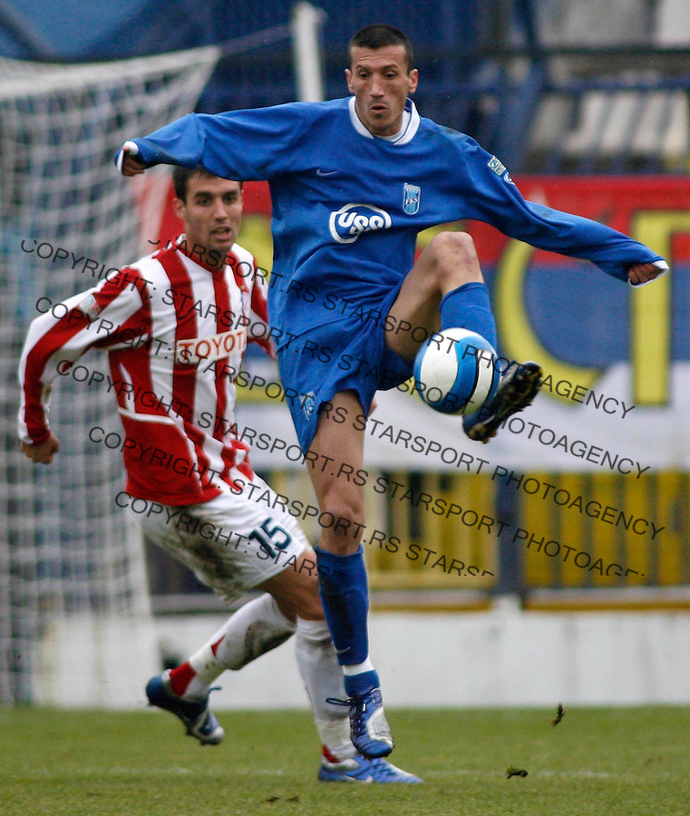 Fudbal, SUPER LIGA, season 2006/07&amp;#xA;Smederevo-Crvena Zvezda&amp;#xA;Dejan Mladenovic, infront, and Nebojsa Joksimovic, behind&amp;#xA;Beograd, 12.11.2006.&amp;#xA;foto: SRDJAN STEVANOVIC<br />