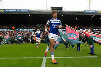 Anthony Watson leads the Bath Rugby team out on the occasion of his 100th appearance for the club. Gallagher Premiership match, between Leicester Tigers and Bath Rugby on May 18, 2019 at Welford Road in Leicester, England. Photo by: Patrick Khachfe / Onside Images